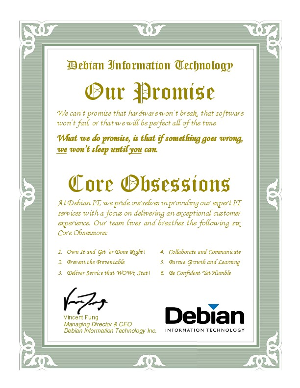 thumbnail of Debian IT Brand Promise and Core Values